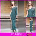 Cuentas de un solo largo de la manga del vestido de noche árabe verde lateral único