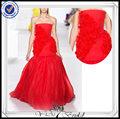 el más reciente pp0254 tafetán de color rojo del diseñador vestido de fiesta coctel