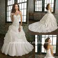 magnífico plata bordado con cuentas de la boda pricess dress
