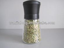 manual núcleo de plástico sal y pimienta molino con botella de vidrio