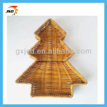la forma del árbol de mimbre bandeja de la cesta