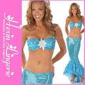 2014 venda quente senhora 3pc azul pouco hot girl natação vestido sereia traje