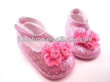 brillo al por mayor zapatos de bebé con la flor