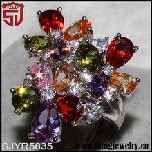 caliente en aliexpress de múltiples flores de color cz anillo de venta al por mayor