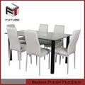 vidro e metal mesa de jantar mesa 6 cadeiras set