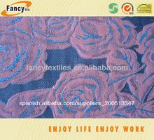 rosa púrpura del diseño jacquard de algodón de mezclilla pantalones vaqueros y tela