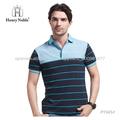 Elegante diseño de alta calidad a rayas azul camisetas del polo para los hombres