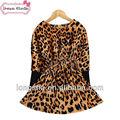 2014 projetado novo bebê meninas primavera leopardo sexy vestido para 2-7 anos meninas