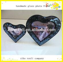 crujido espumoso negro arte gran pequeño corazón tabla amor marco de fotos