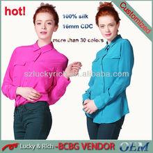 Directo de fábrica de china oem personalizar tipo ladies' 100% blusas de seda de la moda 2014