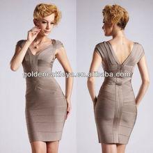 bastante gdk0041 cuello en v para hacer punto de las señoras vestidos de moda