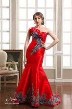 2014 elegante vestido de sirena de rojo a largo vestido de noche