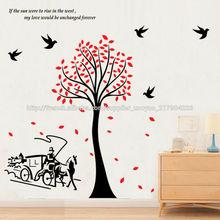 ZY2178 oiseaux arbre PVC mural transport Stickers papier décoratif adhésif auto magasins de décoration pour la maison