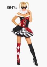 encantadora niña vestido de payaso de disfraces de halloween