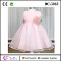 coreano noble rosa desfile de vestidos para niñas con ramillete