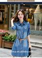 bhnb9828 damas de la moda casual vestido de dril de algodón con cinturón de stock disponible para la ropa las mujeres