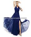 Envío libre V-neckline rebordeó la gasa por encargo azul marino vestidos de noche CWFXe05