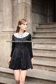 dama negro jacquard encaje de manga larga vestido decration