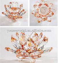 De color amarillo de vidrio de cristal de flores de loto para la boda favor(r- 0930