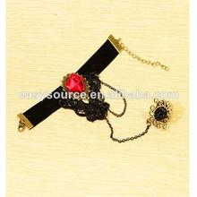 venta caliente clásico para las mujeres con pulseras brazaletes anillo hecho a mano adjunta rosa roja de ventas al por mayor