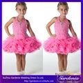el único concurso de niñas de neón de color rosa vestido corto de organza mini vestidos de fiesta para tres años de edad joven