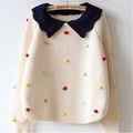 de la muchacha lana pura de color puro y gancho de mano diseño de la flor encantadora tipo puente suéter suéter