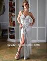 Una plata hombro vestido de cóctel hendidura de cuentas k453