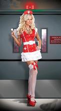 sexy rojo spandex traje de la enfermera blanco y rojo de disfraces de halloween