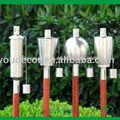 aço inoxidável jardim óleo da tocha com vara de bambu comprimido