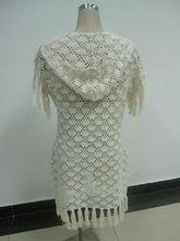 algodón crochet largo abrigo con capucha con la borla ribete patrón en forma de abanico