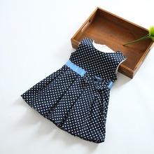 2014 venta caliente bebé niñas azul marino polka dot vestido de algodón ocasional jk-0328-1