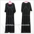 europeo de la moda de ropa de mujer de manga corta madura más el tamaño de invierno con vestidos de cuentas