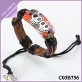 pulsera del cráneo de colores hecho a mano de moda pulseras de cuero baratos