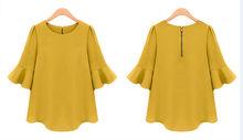 nuevo diseño de manga corta de la moda las mujeres blusa de algodón