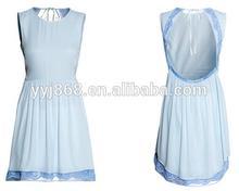 caliente venta de la marca de calidad de tejido vestido de encaje de color azul de moda sexy ropa de las mujeres