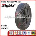 De caucho de los neumáticos de la rueda, cuña 15 pulgadas de la rueda de goma para carretilla