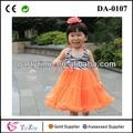 Nuevo de cebra- stripe cabestro superior e inferior de color naranja para bebés de encaje de tul vestido hermoso vestido