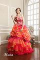 Vestido rojo de la boda del bordado de la falda de organza de capas en línea