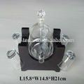 vidrio dispensador de agua del grifo con fascinantes y soporte de madera
