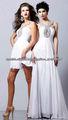 Venta caliente moldeada del halter por encargo de la gasa corta blanco vestidos de cóctel CWFXc15