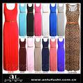 Mujeres Jersey largo Racer Back ceñido vestido sin mangas barato HF163