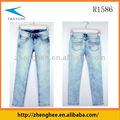 Branco lavado jeans mulheres, jeans pedra