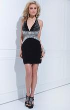 impresionante moderno de moda nuevo estilo de cuentas línea slim sin respaldo cabestro corto linda de las señoras vestidos de có