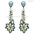 Opala de pedras preciosas brincos, diamond jóias fornecedor na índia, jóia para as mulheres, 925 brincos da prata esterlina