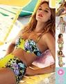mujeres de la impresión floral del bikini de talle alto