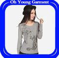 Popular y barato 100% de algodón de manga larga t camisa de diseño para damas ropa en a granel