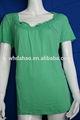 100% bordado de algodón cuello verde llanura cuello redondo t- shirt
