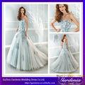 De alta calidad de una línea sin tirantes Appliqued grande de Tulle de la falda del vestido de la boda vestidos de boda azul