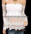YYH Vintage encaje transparente floral de los hombros de manga larga de la muñeca de la blusa
