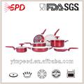 2014 desgin nueva de cerámica de aluminio utensilios de cocina de color rojo 10 unidades para la venta caliente